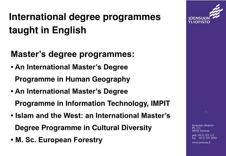 International degree programmes