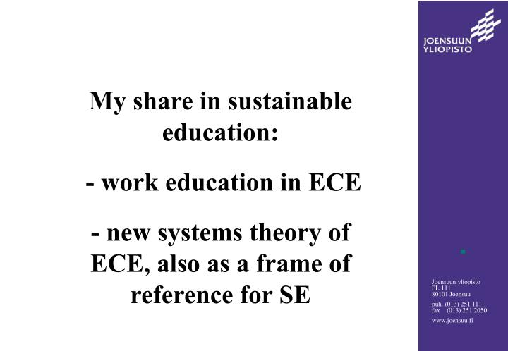 My share in sustainable education: