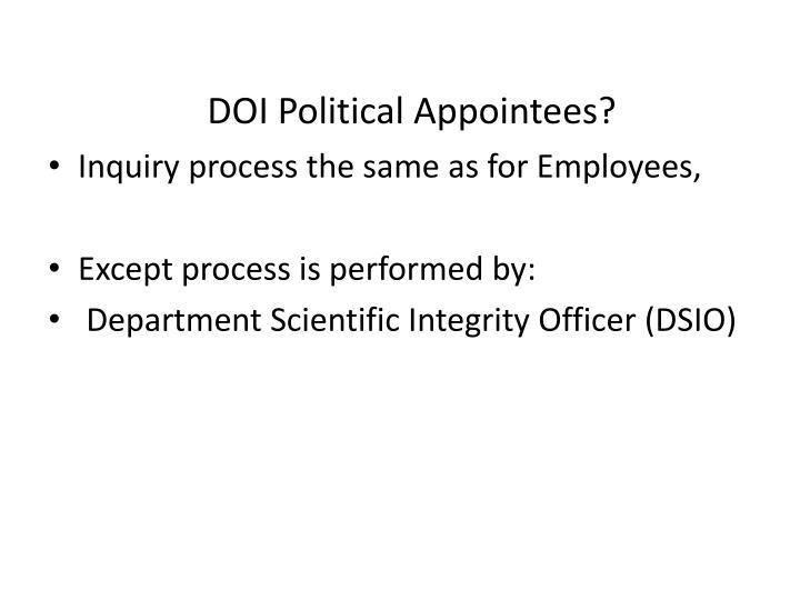 DOI Political Appointees?