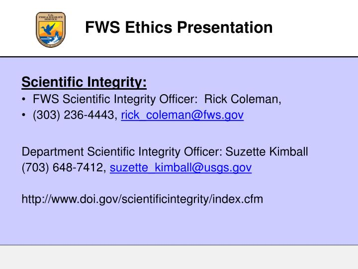 FWS Ethics Presentation