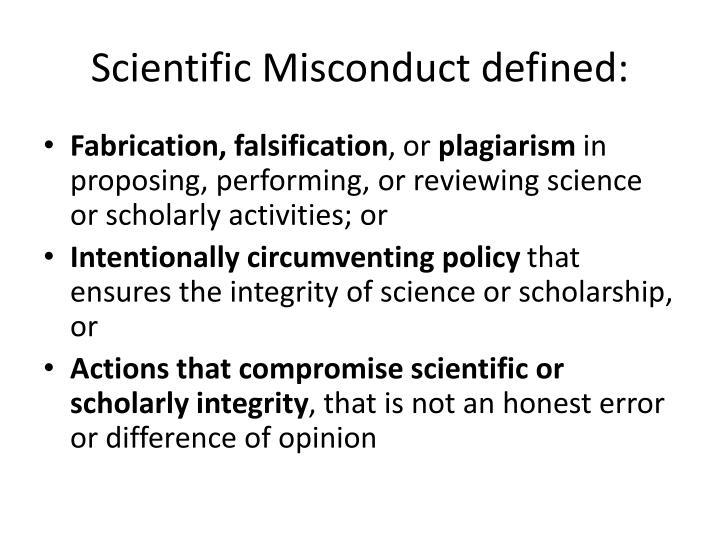 Scientific Misconduct defined: