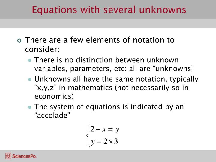 Equations with several unknowns