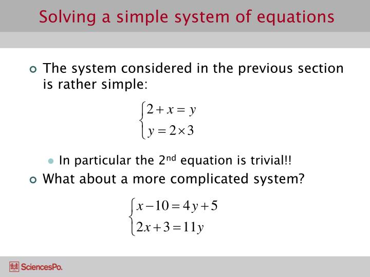 Solving a simple system of equations