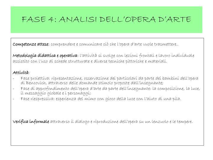 FASE 4: ANALISI DELL'OPERA D'ARTE