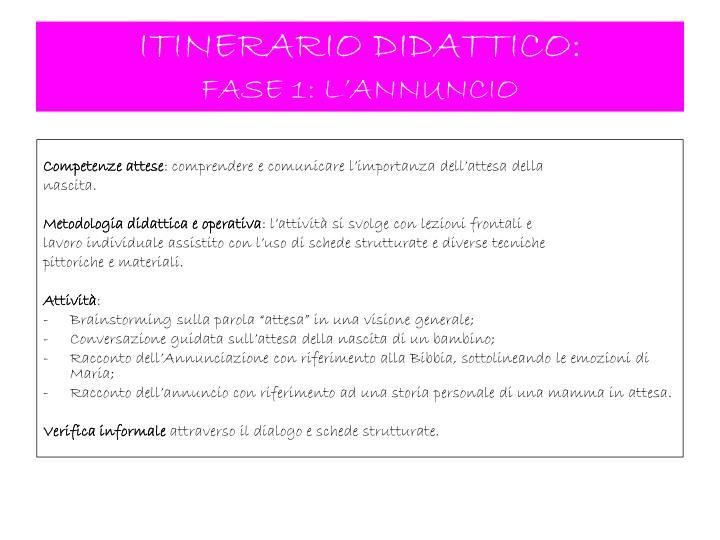 ITINERARIO DIDATTICO: