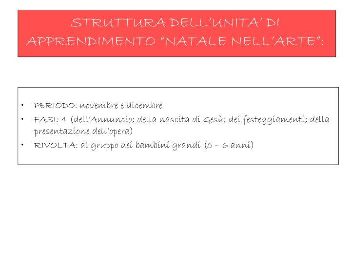 """STRUTTURA DELL'UNITA' DI APPRENDIMENTO """"NATALE NELL'ARTE"""":"""