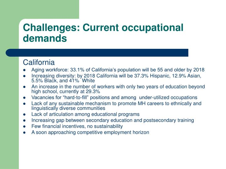 Challenges: Current occupational demands
