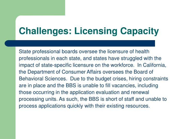 Challenges: Licensing Capacity