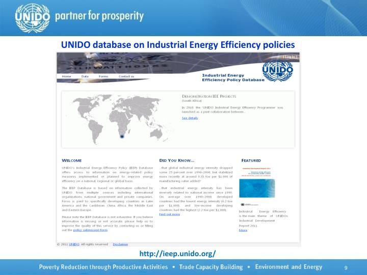 UNIDO database on Industrial Energy Efficiency policies