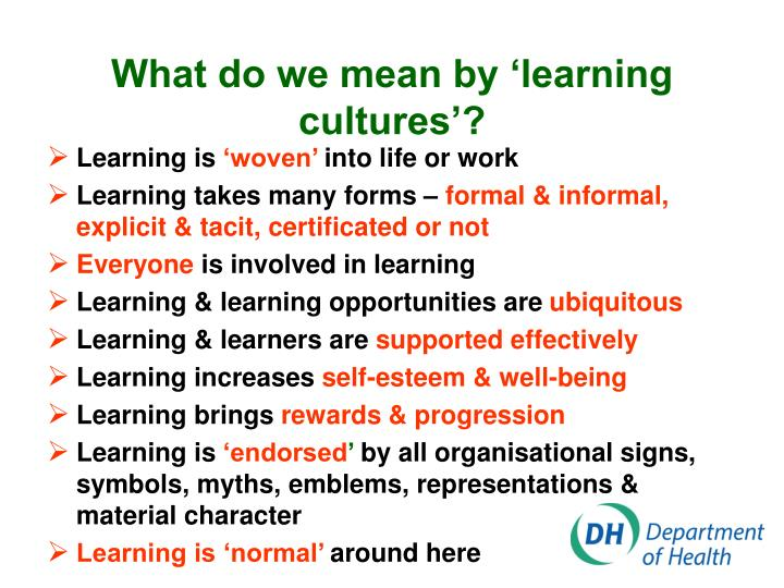 What do we mean by 'learning cultures'?