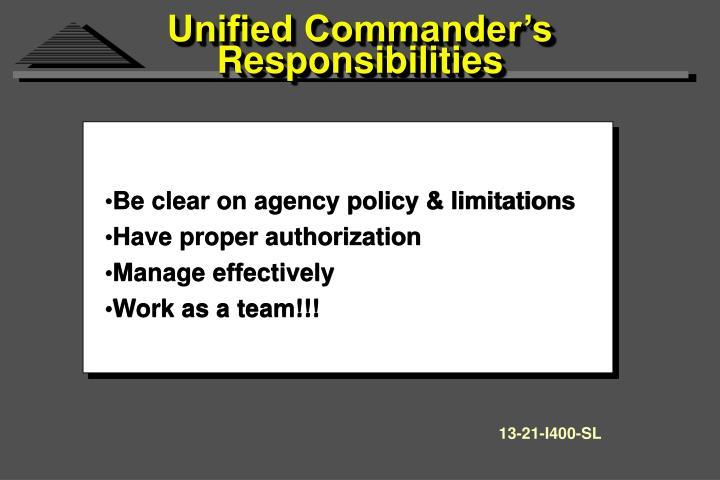 Unified Commander's Responsibilities