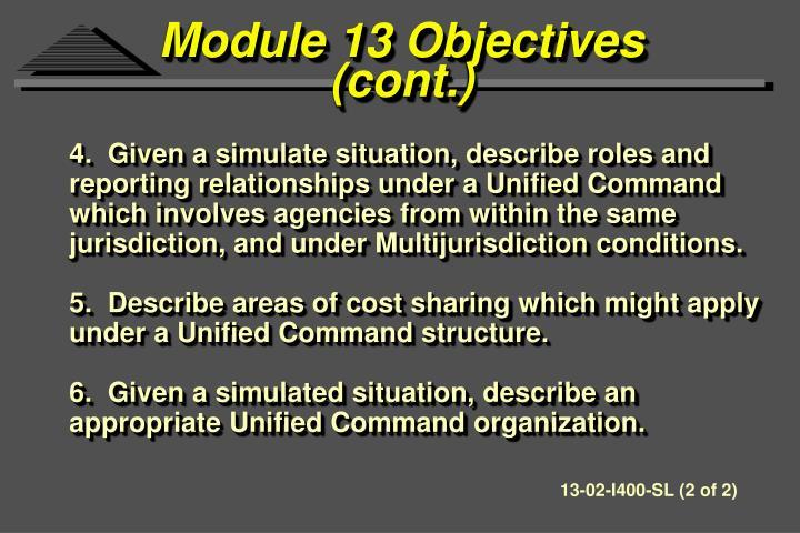 Module 13 Objectives
