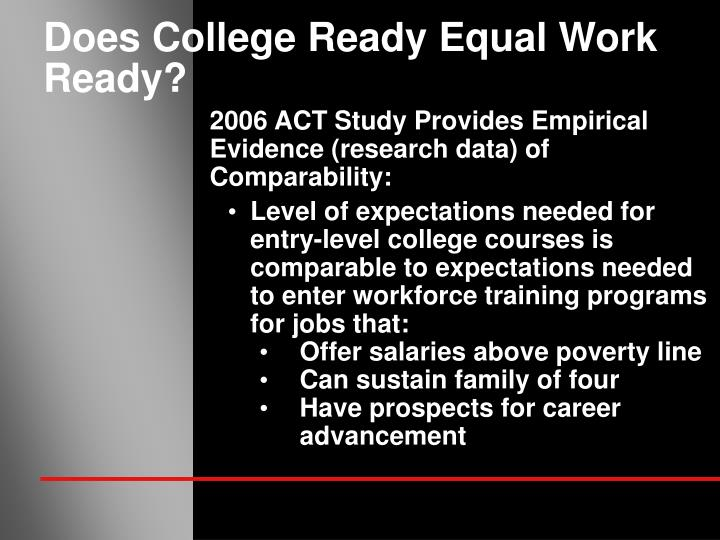 Does College Ready Equal Work Ready?