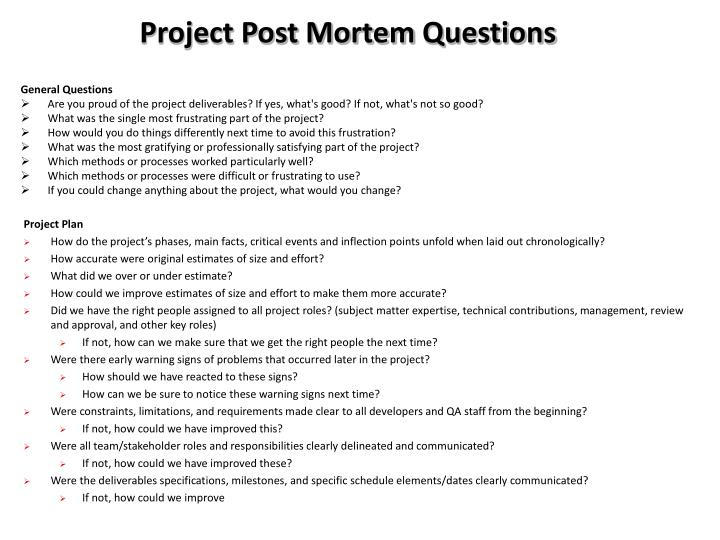 project management post mortem template - Gecce.tackletarts.co