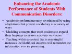 enhancing the academic performance of students with communication disorders