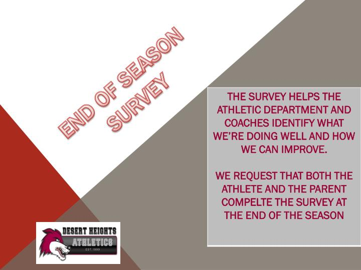 END OF SEASON SURVEY