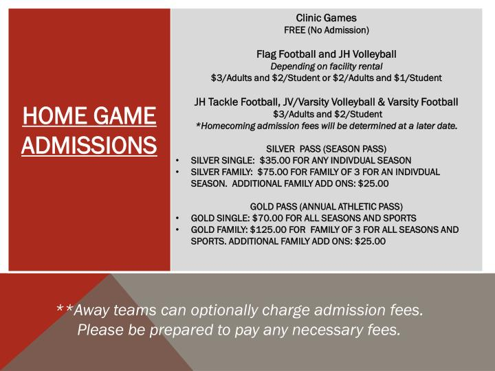 **Away teams can optionally charge admission fees.  Please be prepared to pay any necessary fees.