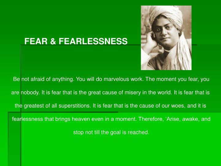 FEAR & FEARLESSNESS