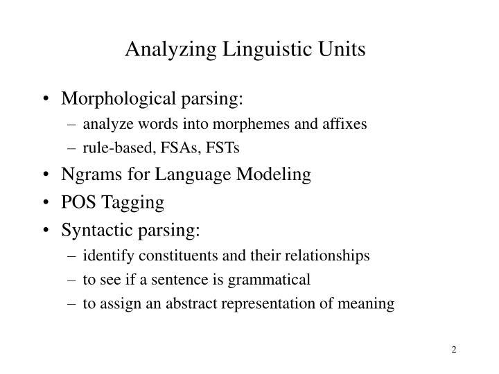 Analyzing Linguistic Units