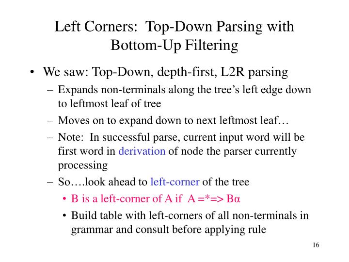Left Corners:  Top-Down Parsing with Bottom-Up Filtering