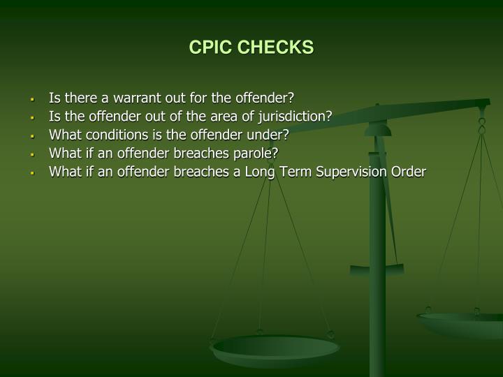 CPIC CHECKS