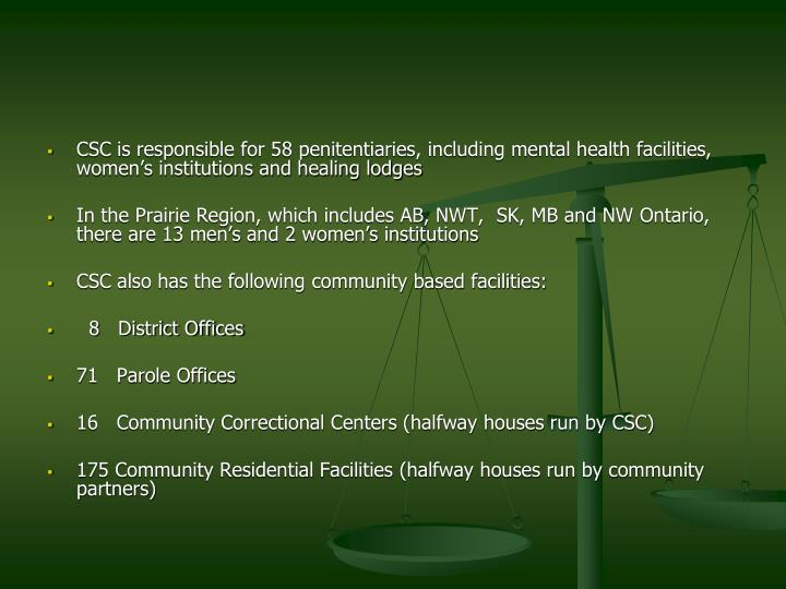 CSC is responsible for 58 penitentiaries, including mental health facilities, women's institutions and healing lodges