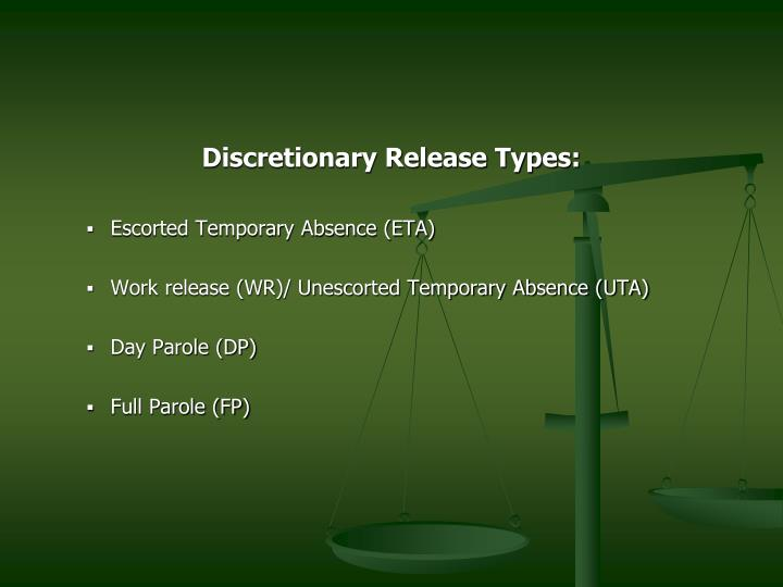 Discretionary Release Types: