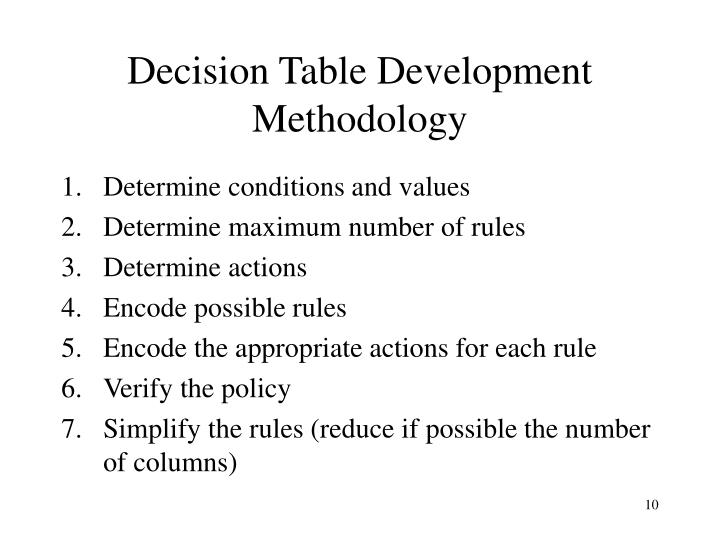 Decision Table Development Methodology
