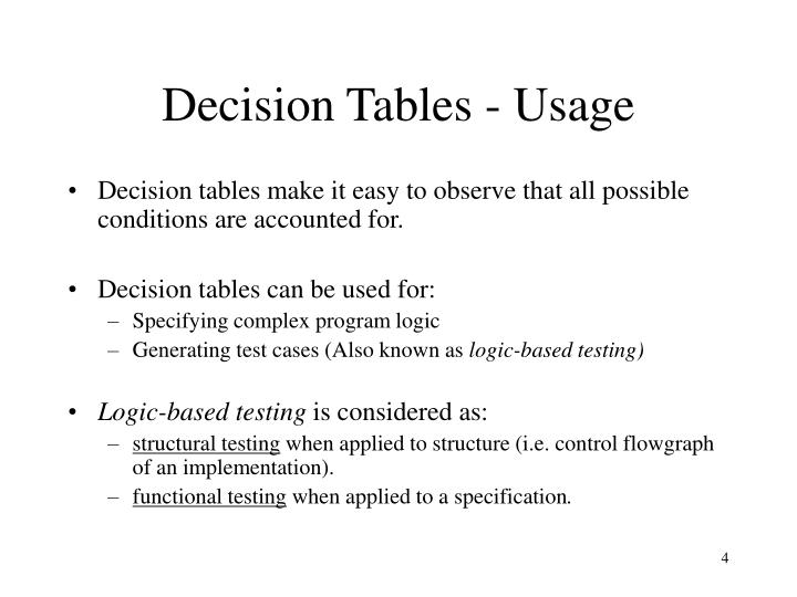 Decision Tables - Usage