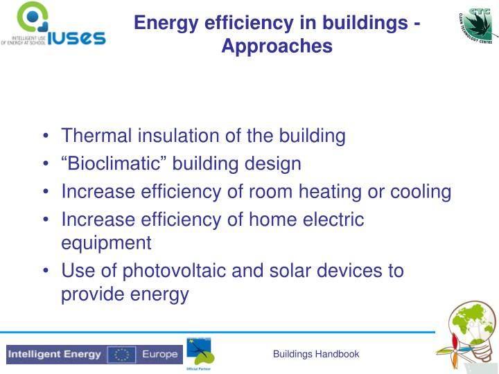 Energy efficiency in buildings - Approaches