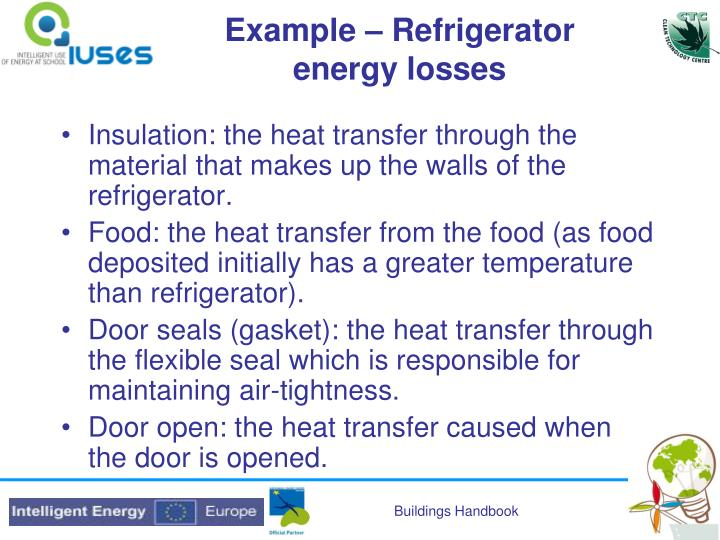 Example – Refrigerator energy losses