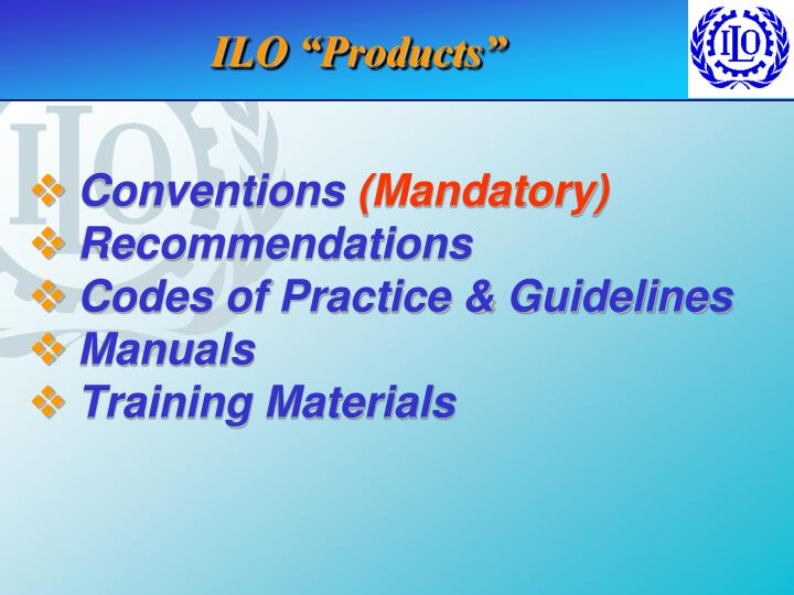 "ILO ""Products"""