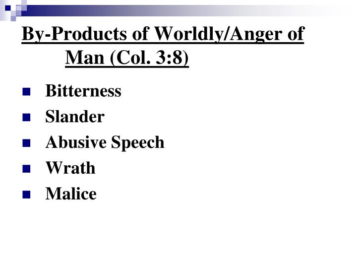 By-Products of Worldly/Anger of Man (Col. 3:8)