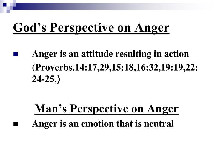 God's Perspective on Anger