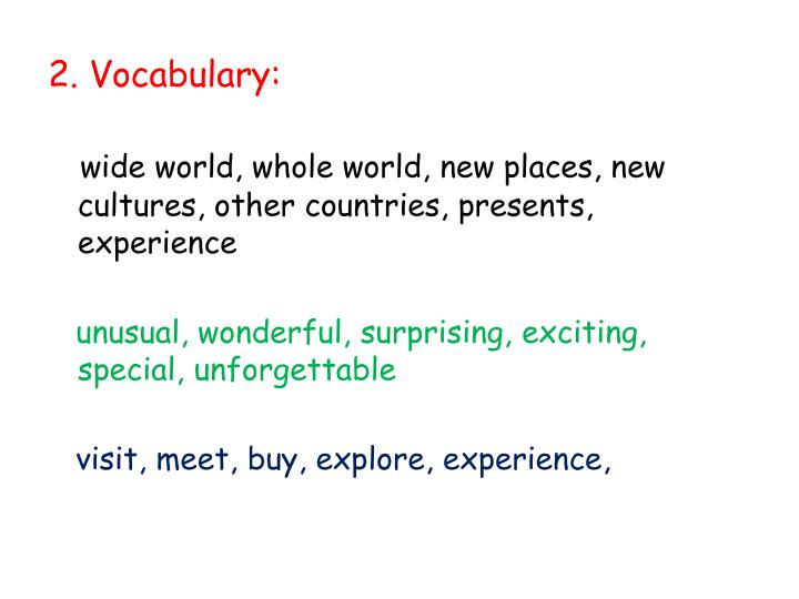 2. Vocabulary: