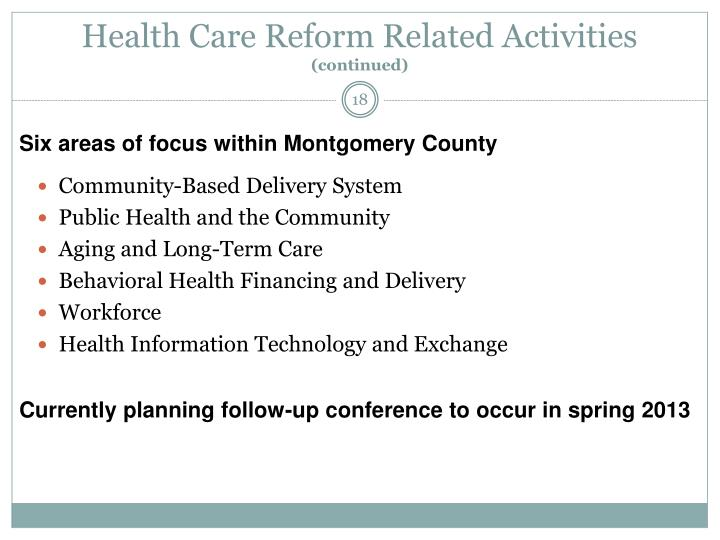 Health Care Reform Related Activities