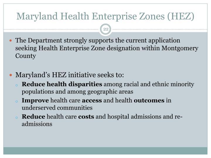 Maryland Health Enterprise Zones (HEZ)