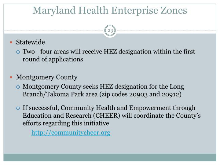 Maryland Health Enterprise Zones