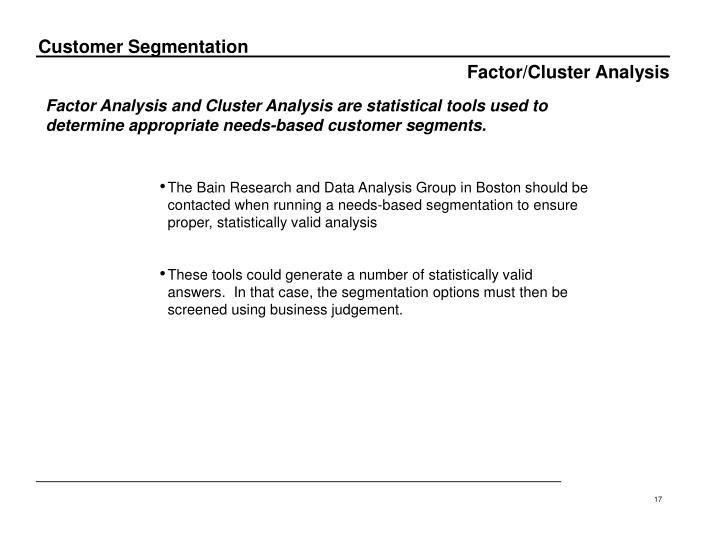 Factor/Cluster Analysis