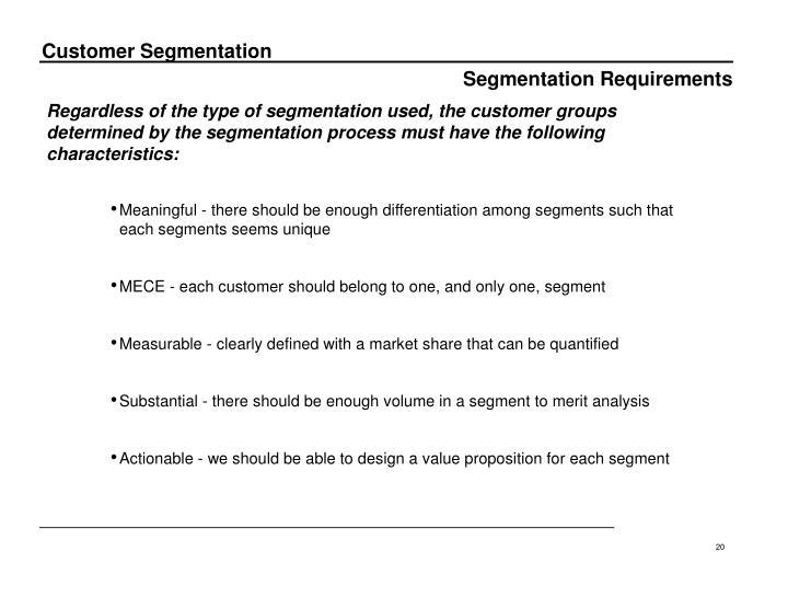 Segmentation Requirements