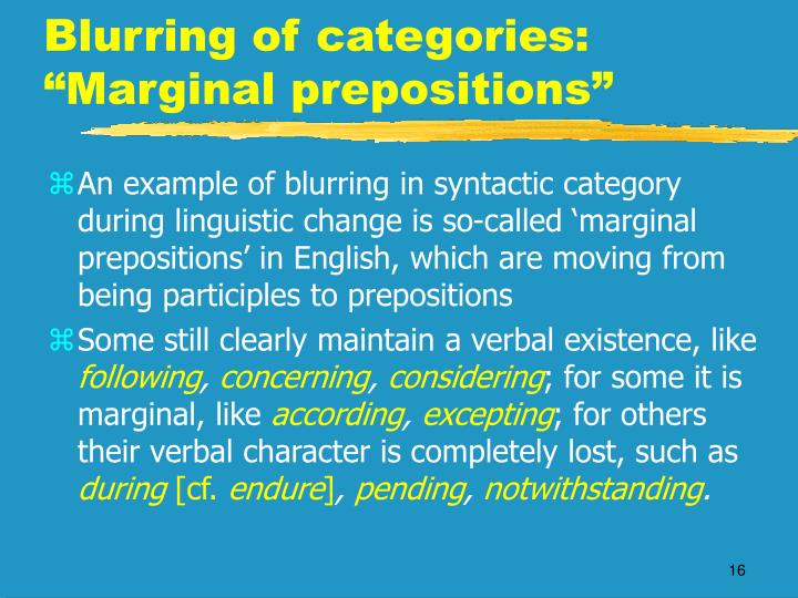 "Blurring of categories: ""Marginal prepositions"""