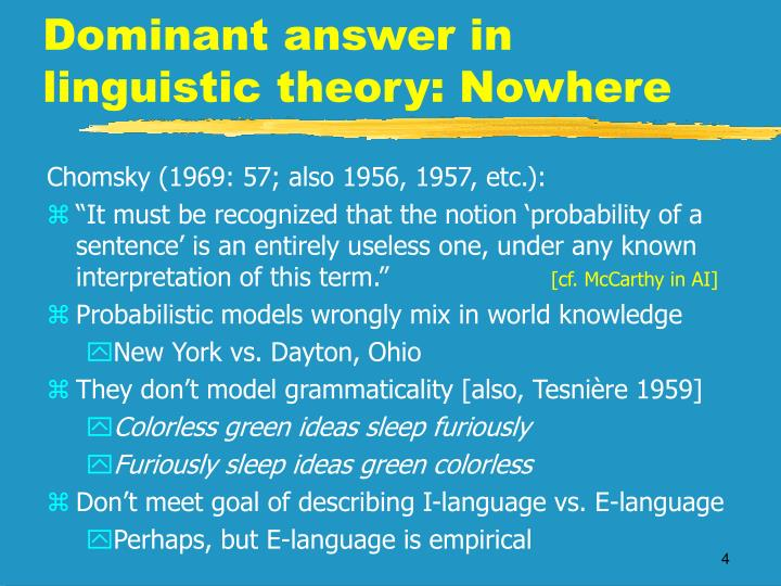 Dominant answer in linguistic theory: Nowhere