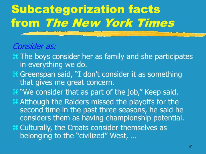 Subcategorization facts from