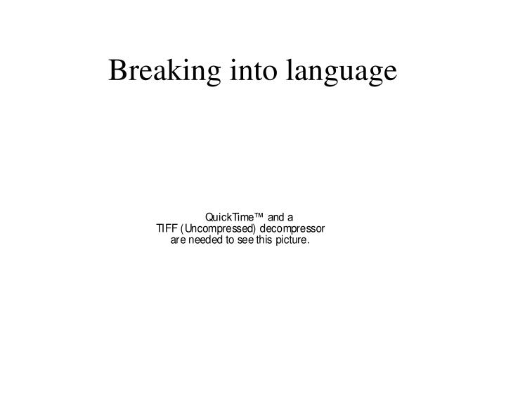 Breaking into language