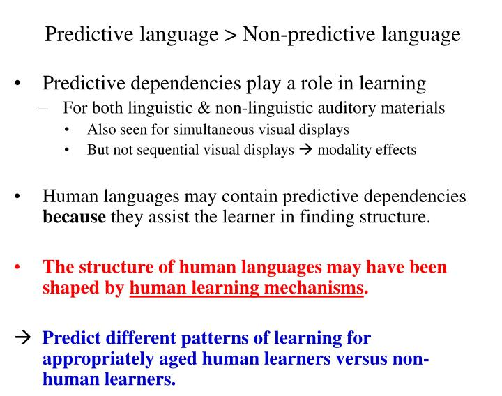 Predictive language > Non-predictive language