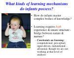 what kinds of learning mechanisms do infants possess