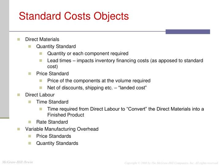 Standard Costs Objects