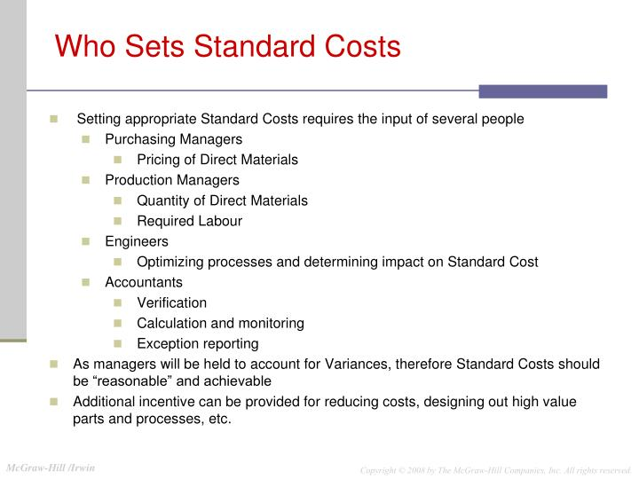 Who Sets Standard Costs