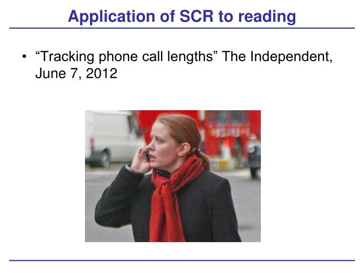 Application of SCR to reading