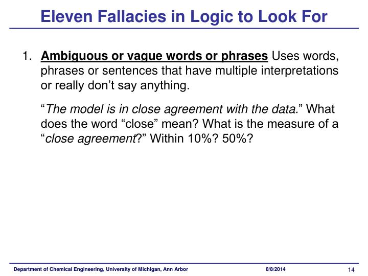Eleven Fallacies in Logic to Look For